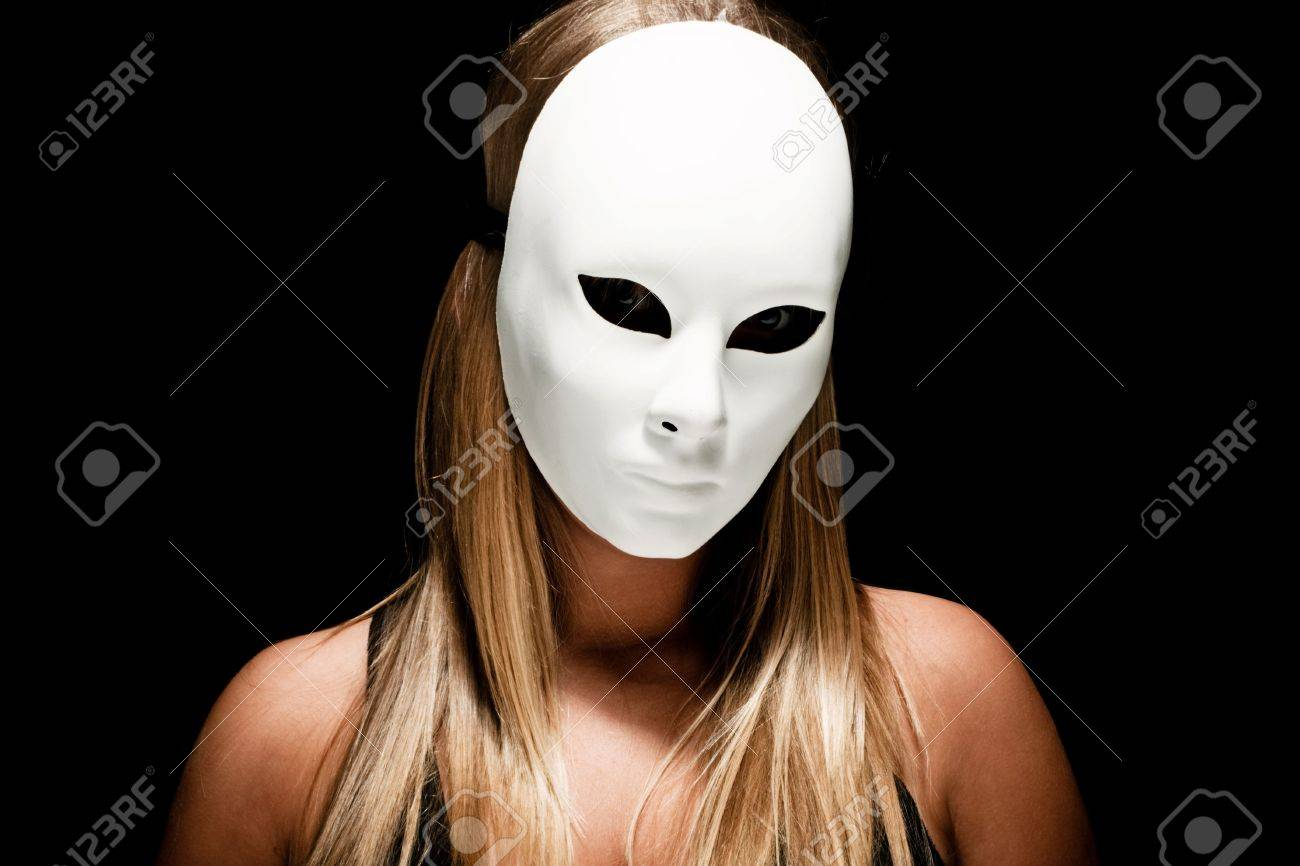 Blond Woman With White Mask, Studio Dark Stock Photo, Picture And ...