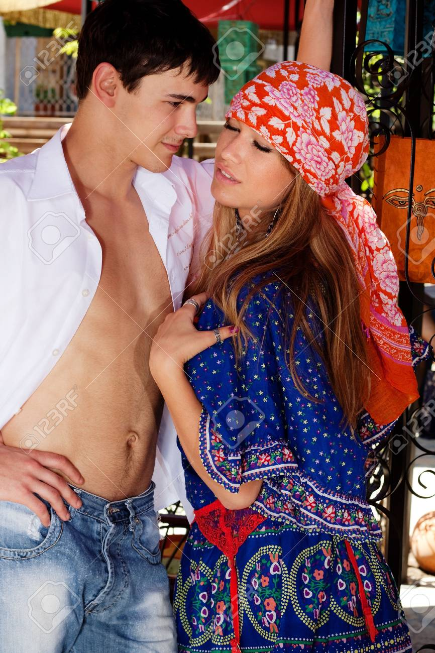 young couple flirting, outdoor shot, summer day Stock Photo - 5017430