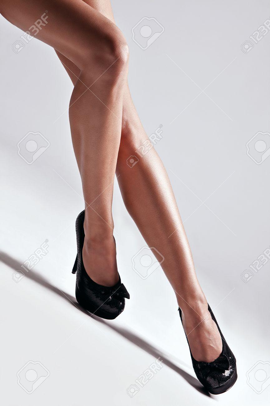 Beautiful Woman Legs In High Heels Shoes Studio Shot Stock Photo