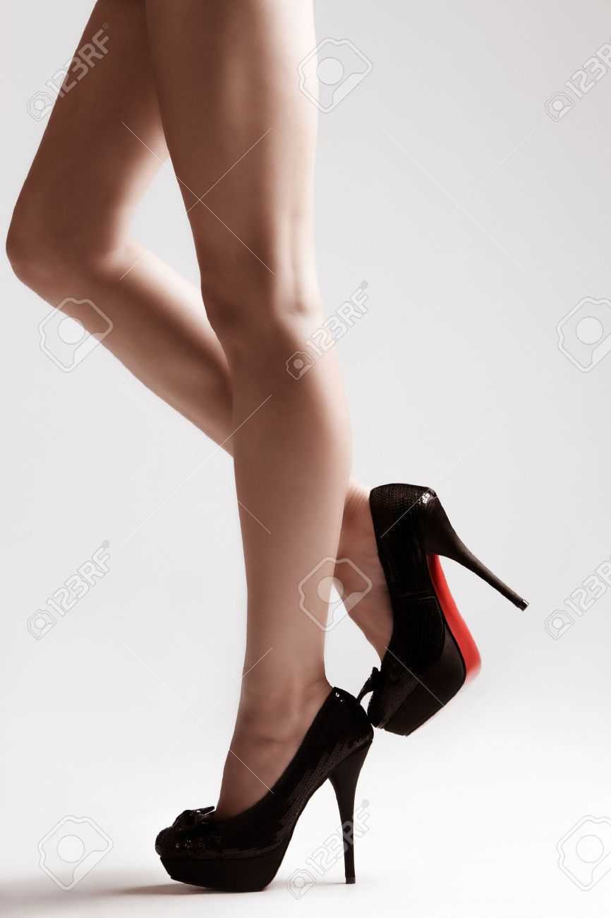 Long Slim Legs In High Heels Shoes, Studio Shot Small Amount ...
