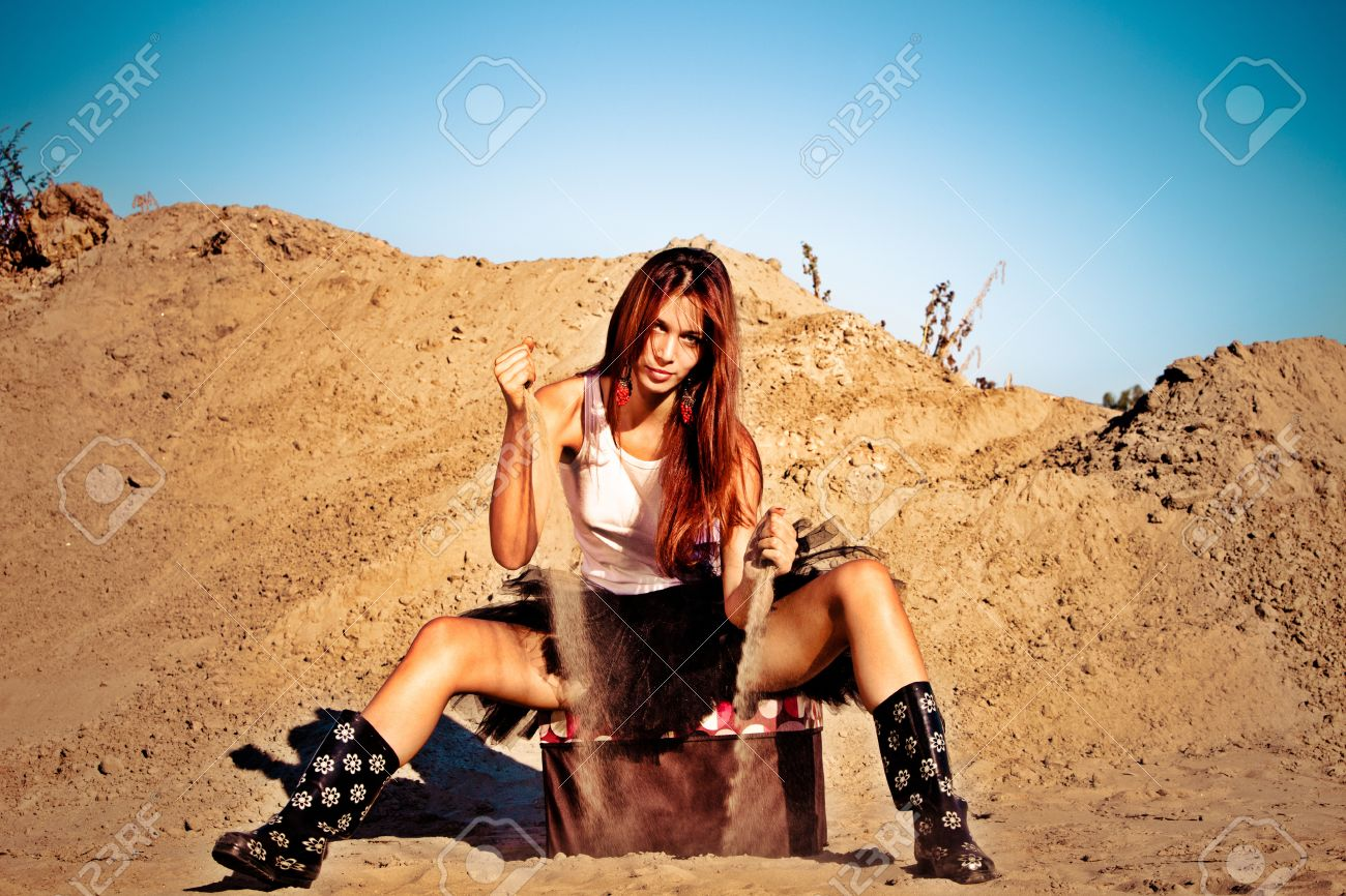 red hair beautiful woman waste sand,  outdoor shot summer day Stock Photo - 10681862