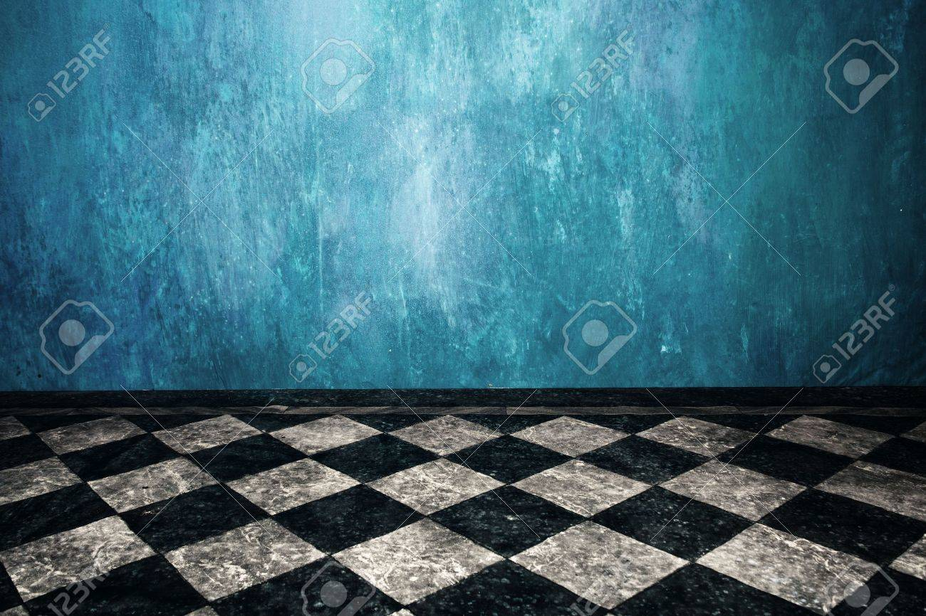 Grunge Blue Wall And Tiled Floor In Empty Room Stock Photo, Picture ...