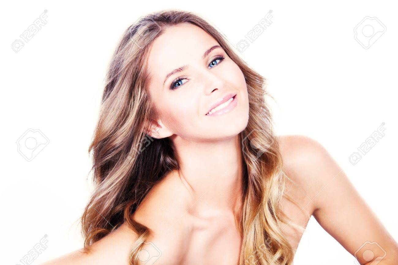 smiling beautiful long hair blond with blue eyes, studio shot white background Standard-Bild - 14900407
