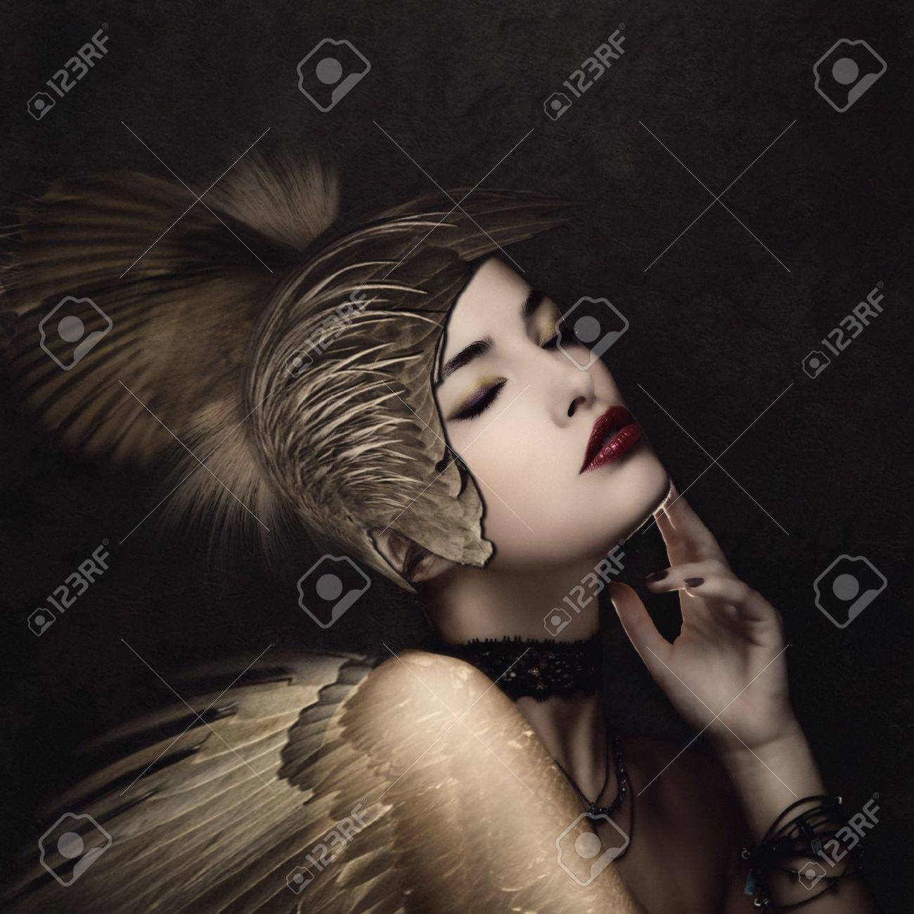 battle angel with feather helmet in calm thinking pose small amount of grain added Standard-Bild - 19150608