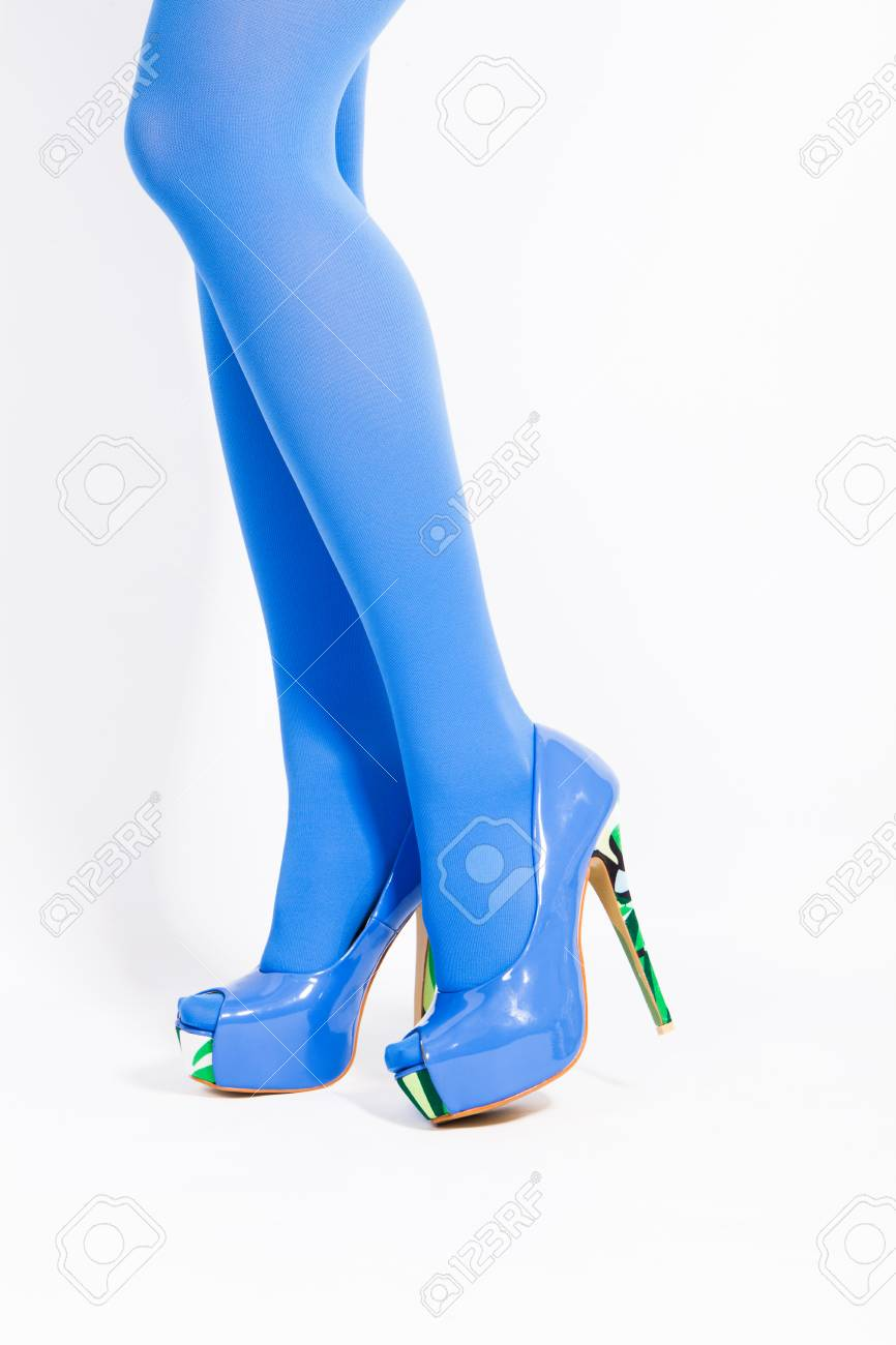 Camuflaje Mujer Con Talón En De Medias Azules Plataforma Piernas Estudio Y Estampado Tacón Tiro Zapatos El N80OPnwXk