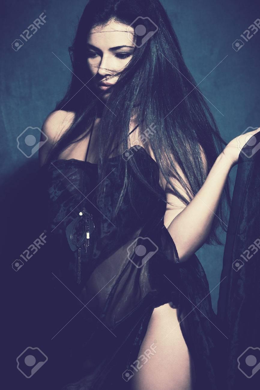 fantasy woman in blue studio shot Standard-Bild - 24507970