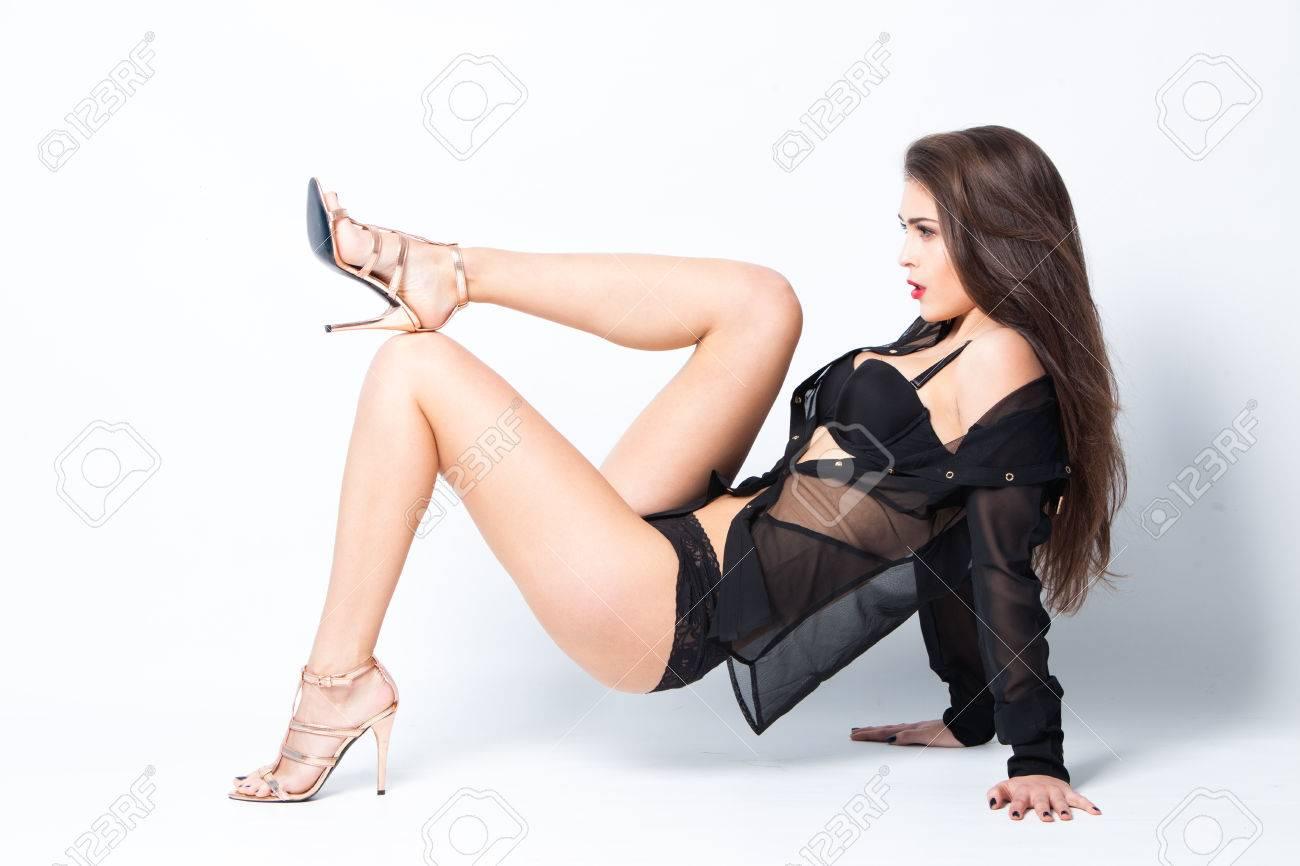 Foto de archivo - Mujer sexy en ropa interior negro a5c642d5cb1a