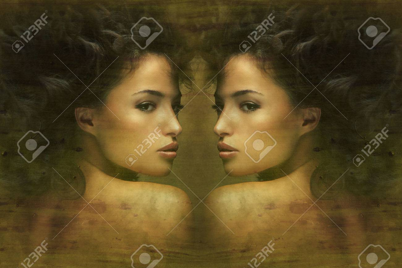 wild beautiful black hair woman artistic portrait Standard-Bild - 29314187