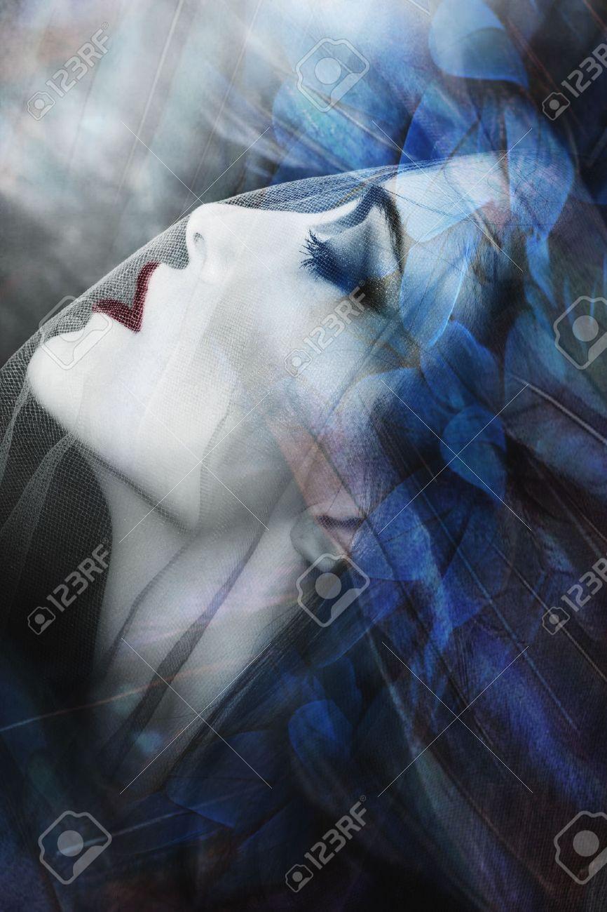 beautiful fantasy woman under veil portrait, composite photo Standard-Bild - 51333842