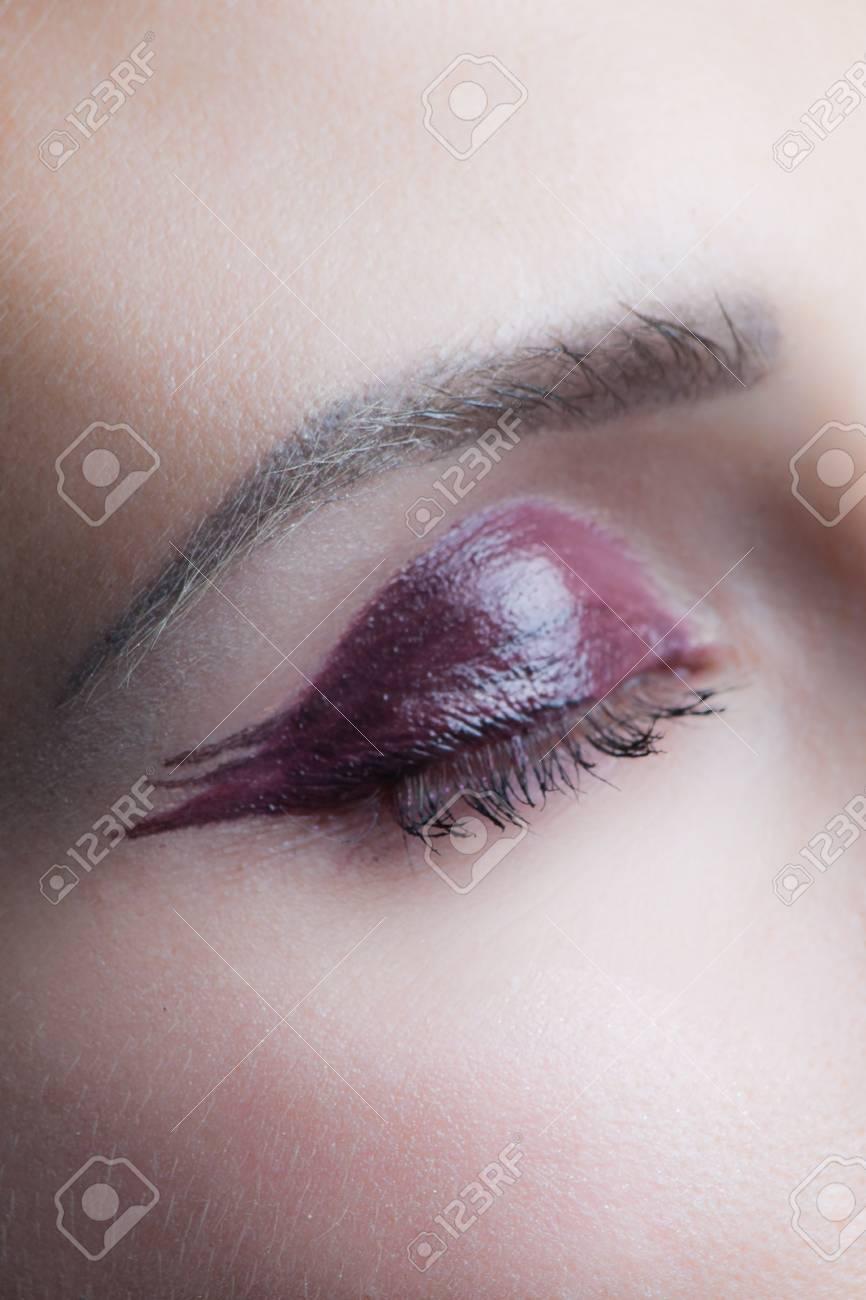 Woman Closed Eye With Perfect Wet Eyeshadow Makeup Studio Shot