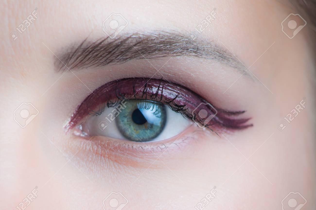 Woman Green Eye With Perfect Wet Eyeshadow Makeup Studio Shot