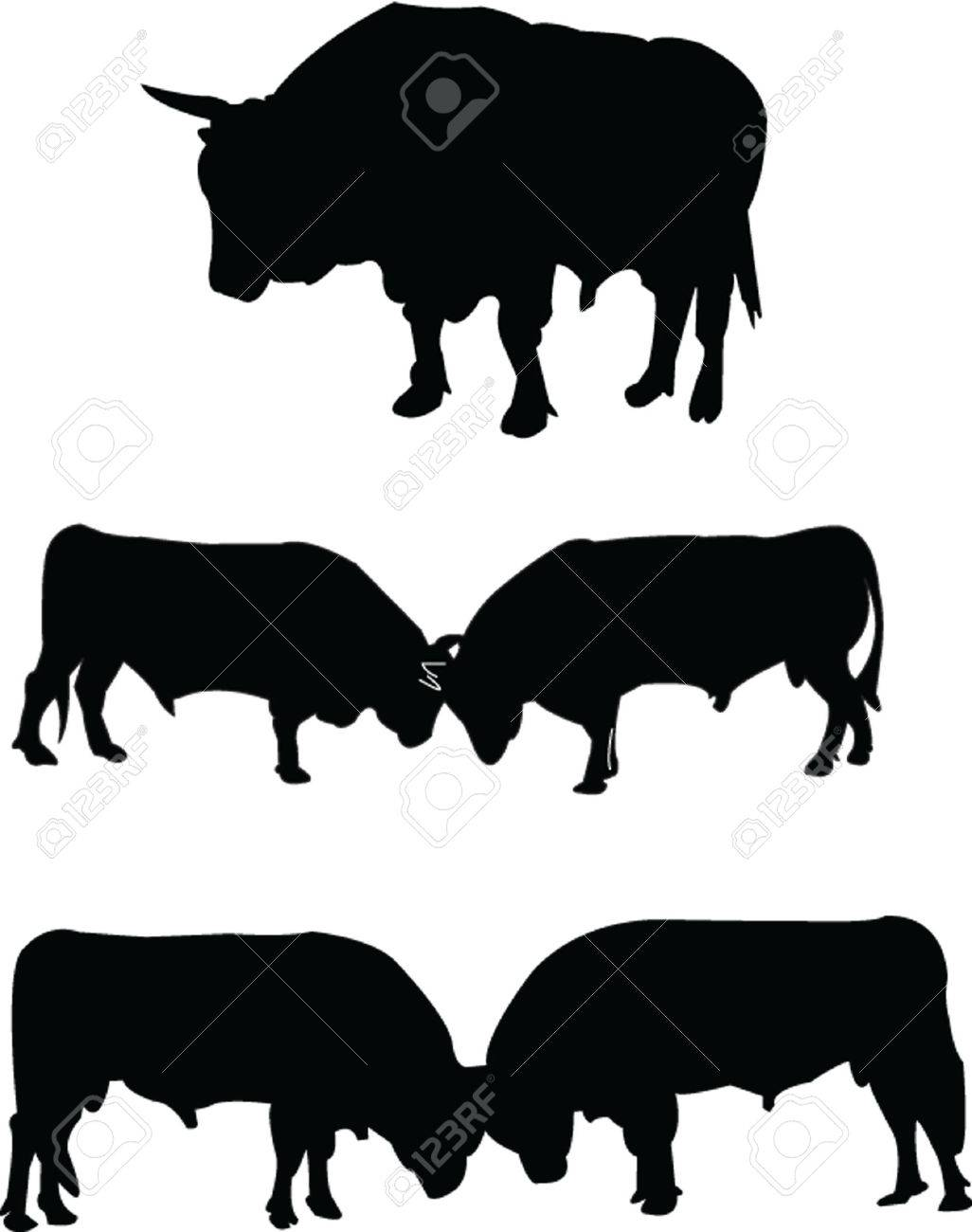 bulls silhouette collection Stock Vector - 5127852