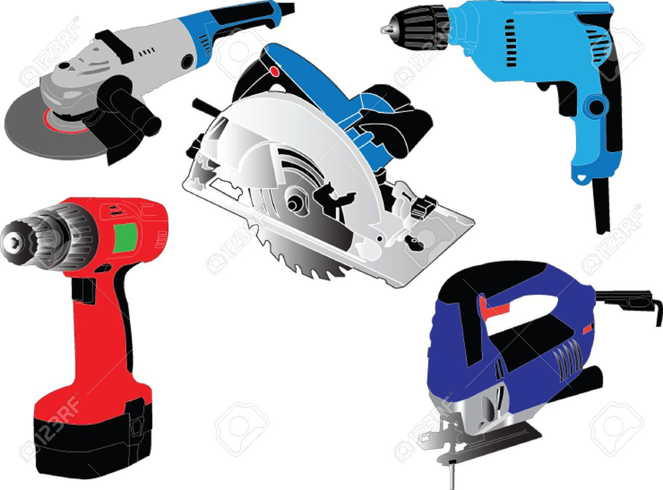 Electric Hand Tools Collection - Vector Royalty Free Cliparts ...