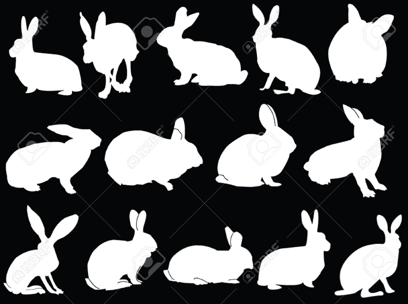 Rabbit Ears Silhouette big collection of bunny