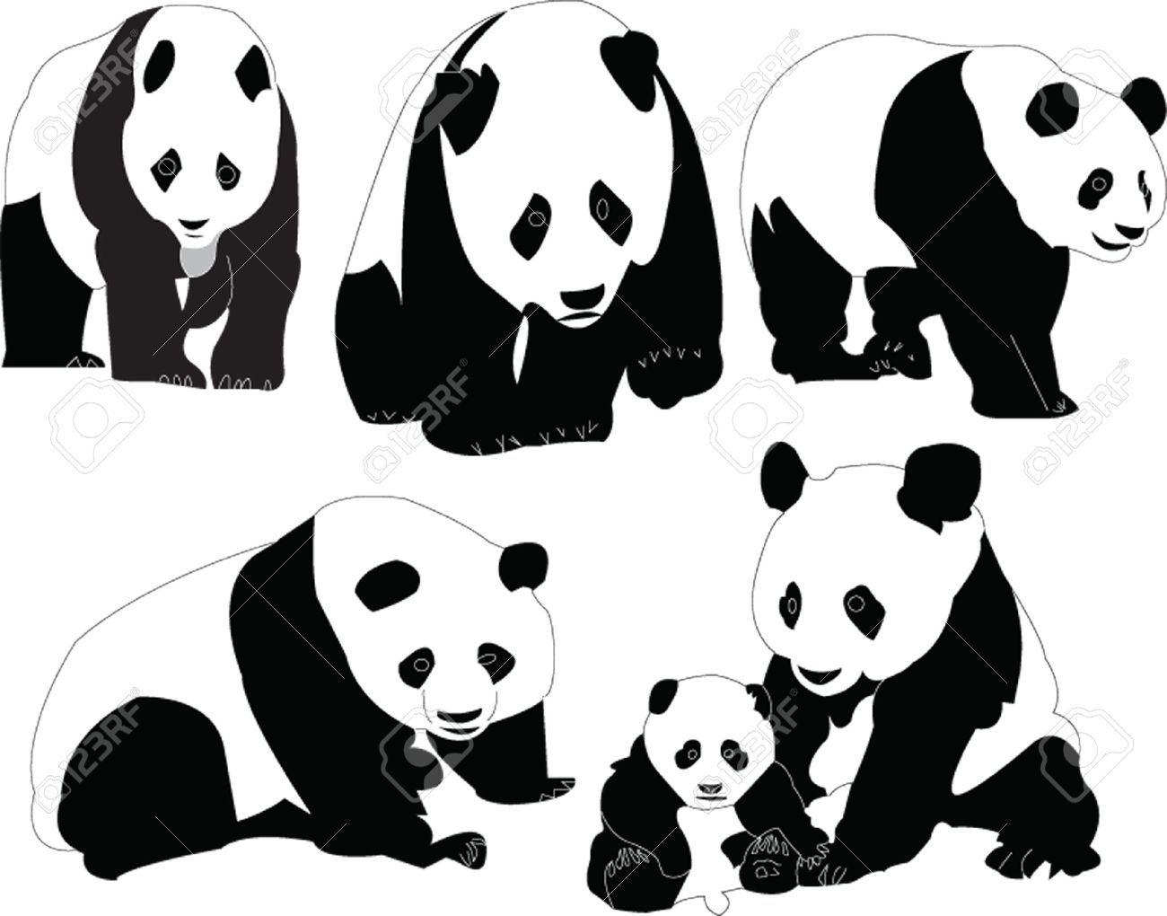 panda collection vector royalty free cliparts vectors and stock