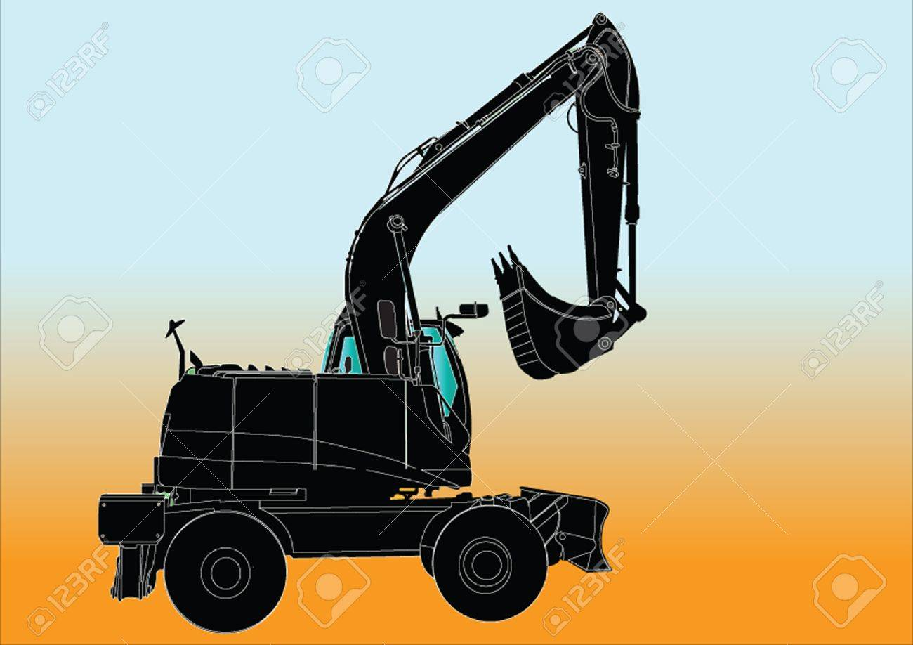 Excavator Machine sillhouette ilustratition Stock Vector - 15360660