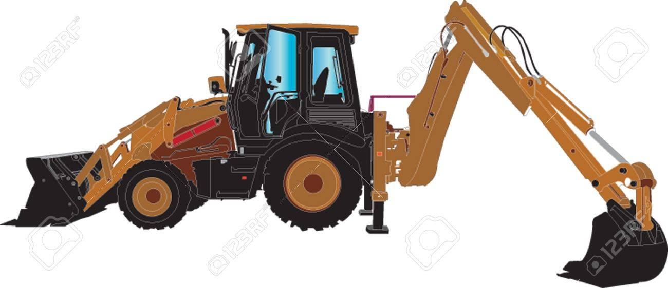 Excavator Machine sillhouette ilustratition Stock Vector - 15360719