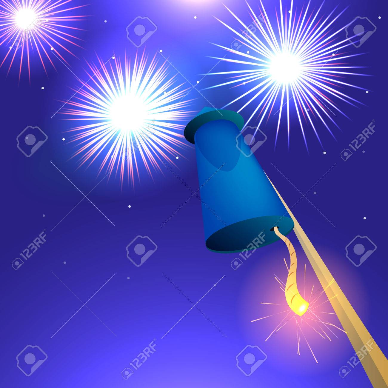 blue racket before takeoff vector illustration of fireworks rh 123rf com Shooting Fireworks Fireworks Vector Transparent