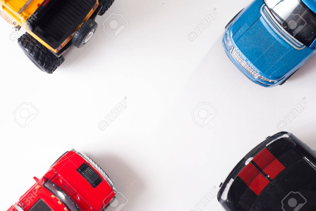 Colorful Toy Car Top View White Background Flat Stock Photo