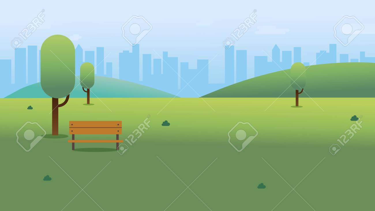Public park with bench in city with sky and cityscape background.Beautiful nature scene with town and hill.Clean spring scenery. Vector illustration - 126294555