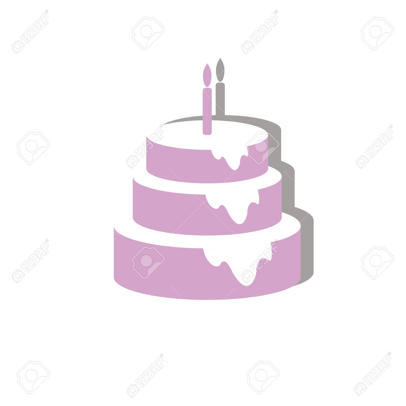 Sweet Birthday Cake Of Three Layers Stock Vector
