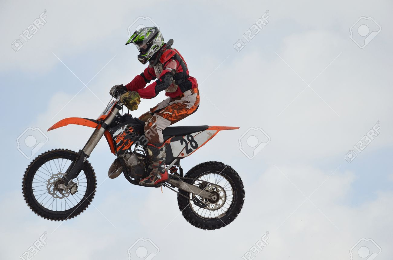 Motocross Rider In The Air Stock Photo, Picture And Royalty Free ...