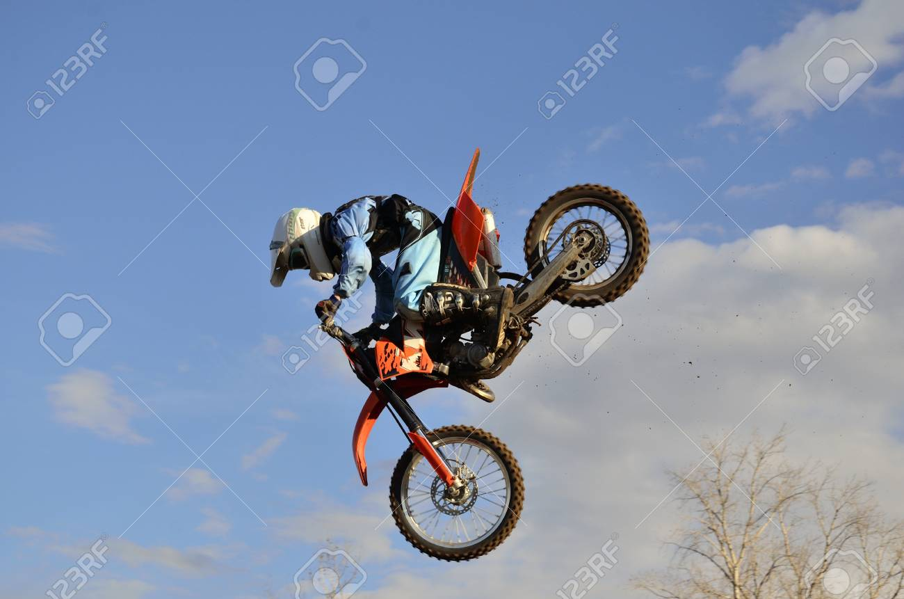 RUSSIA, SAMARA, CHAPAYEVSK - OCTOBER 17: Critical span motorcycle racer unknown before the fall of the Open Cup