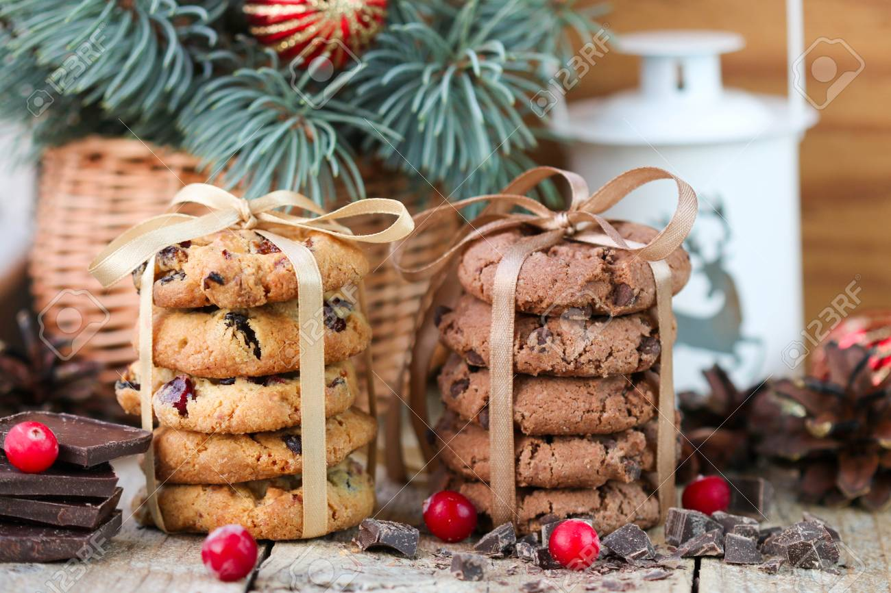 Chocolate Cookies And Biscuits With Cranberries. Christmas Gifts ...