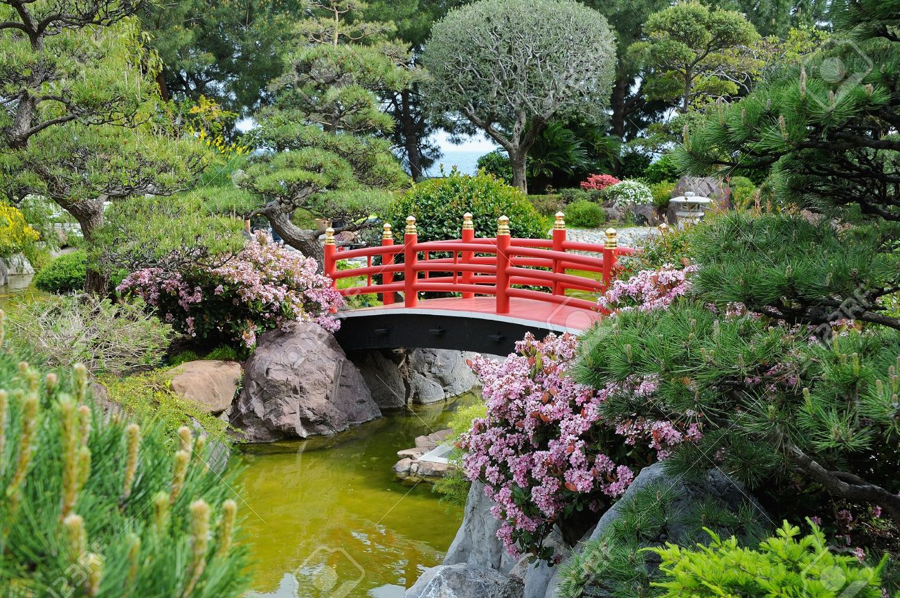 Captivating A Wooden Bridge In The Japanese Garden In Monte Carlo Stock Photo   13443012