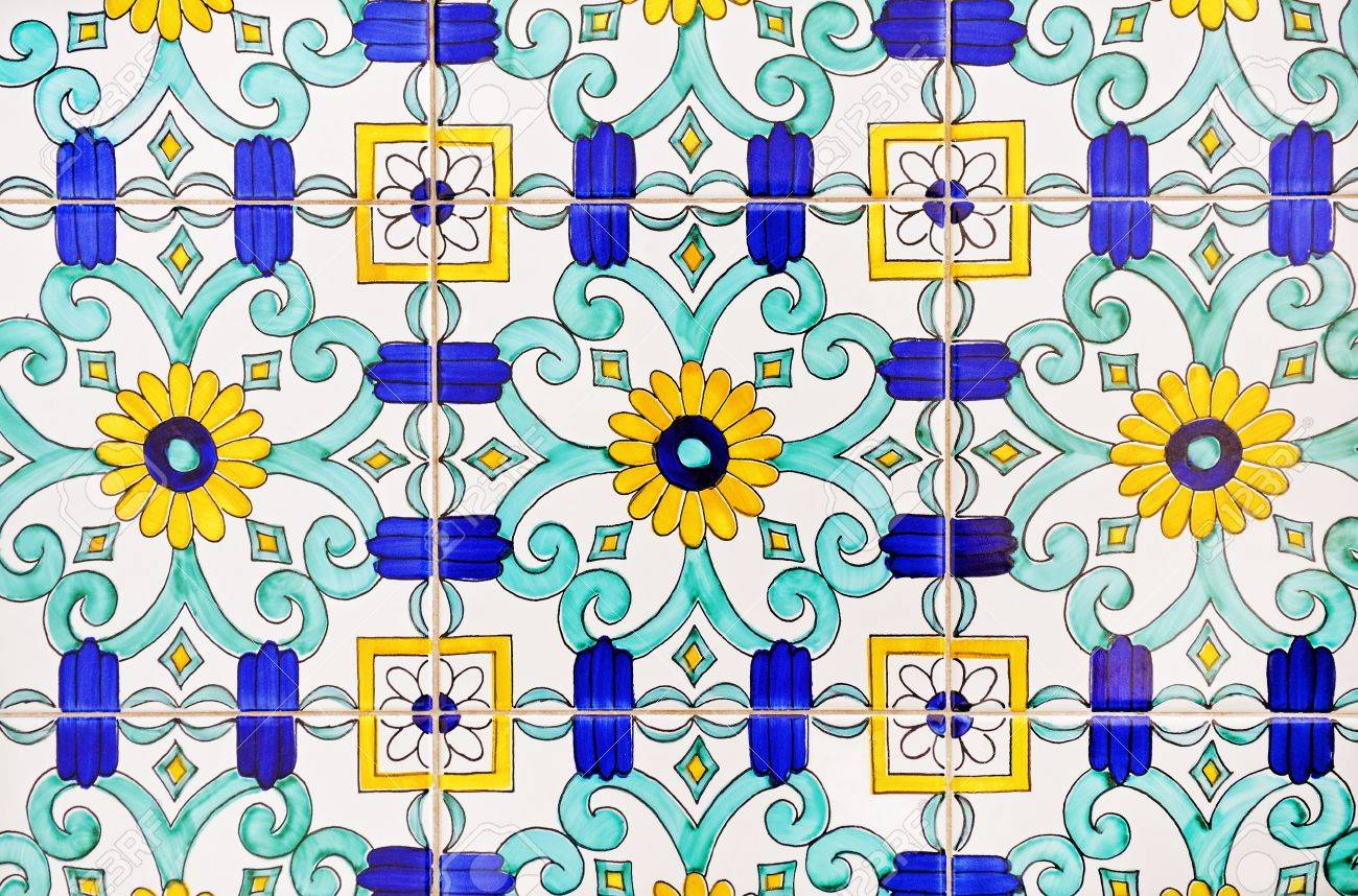 Old And Colorful Italian Painted Tiles With Interesting Designs ...
