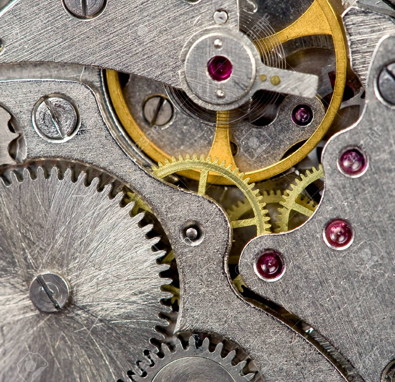 mechanism of old mechanical watch close up Stock Photo - 9557058