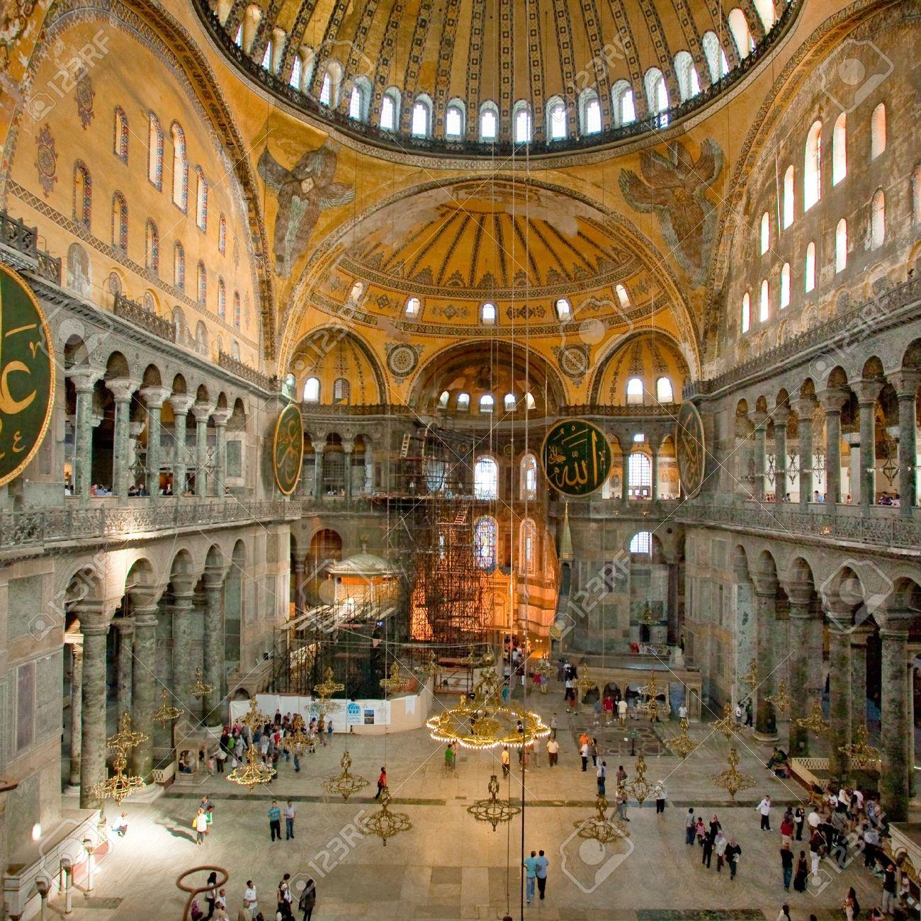 Interior of Aya Sophia - ancient  Byzantine basilica on September 10, 2010 in Istanbul, Turkey Stock Photo - 9690655
