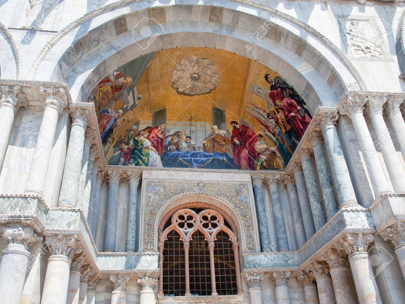 gold mosaic in gate portal of San Marco Cathedral Basilica, Venice, Italy Stock Photo - 10466452