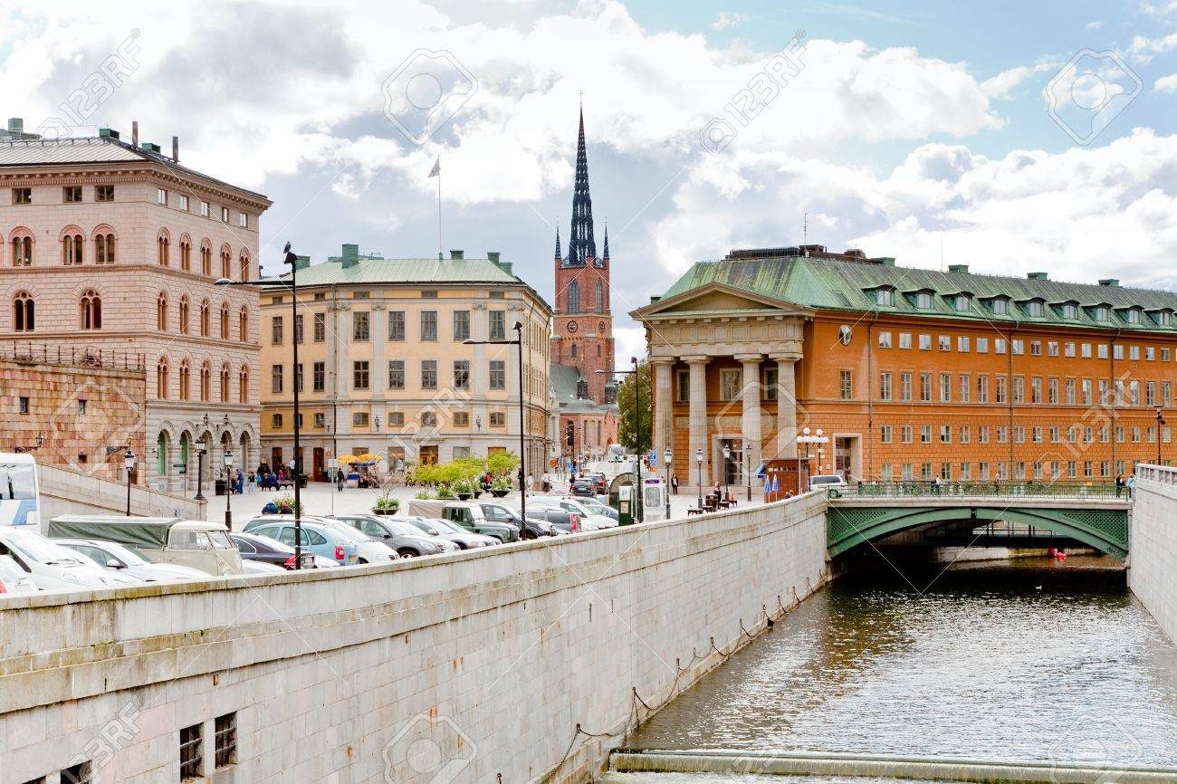 urban water canal and bridge in Stockholm, Sweden Stock Photo - 11117731