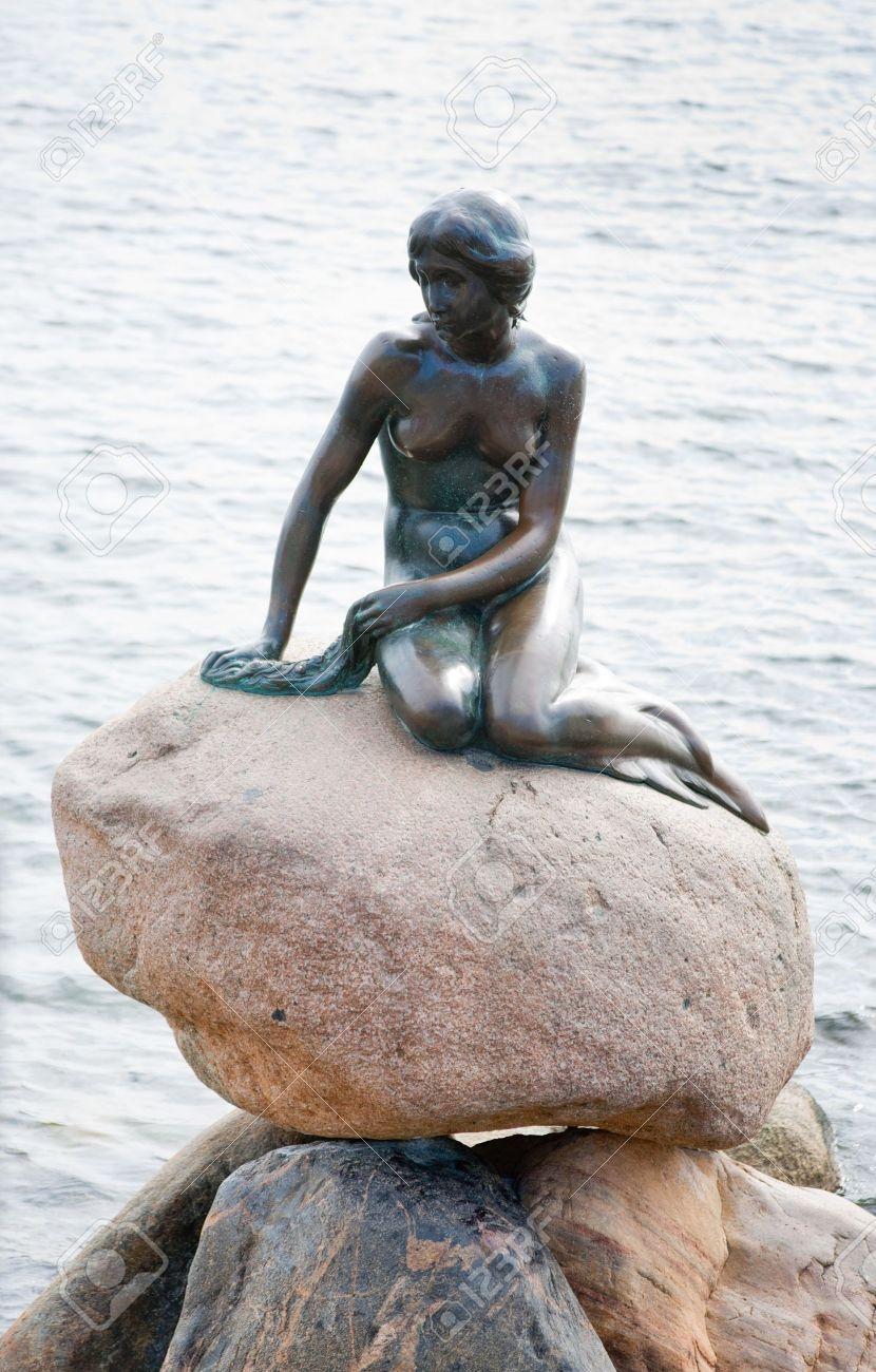 statue of the little mermaid in copenhagen denmark stock photo