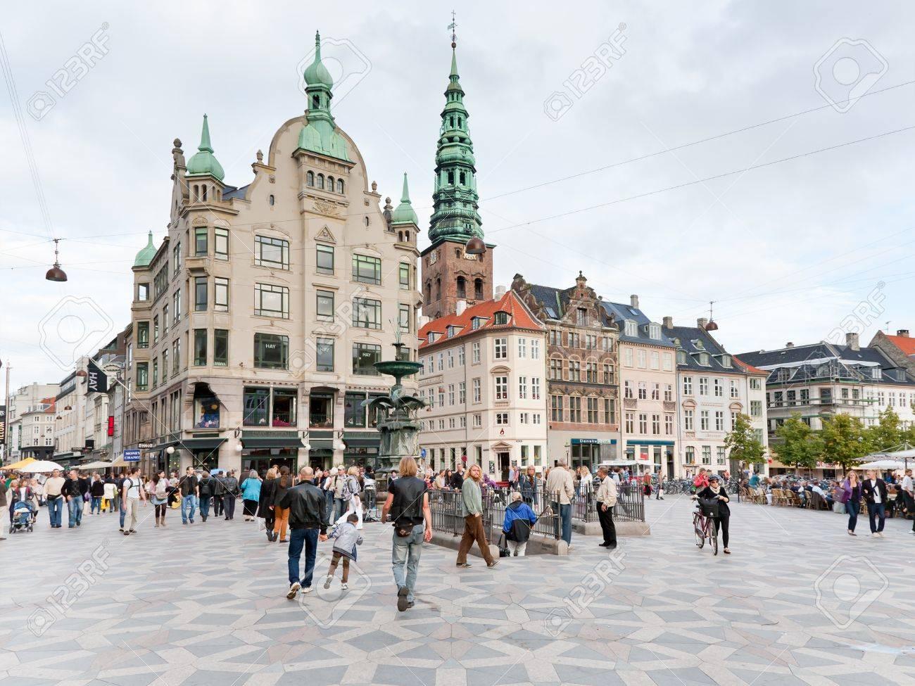 COPENHAGEN - SEPTEMBER, 10: Amagertorv - central square. In 1449 it is  referred