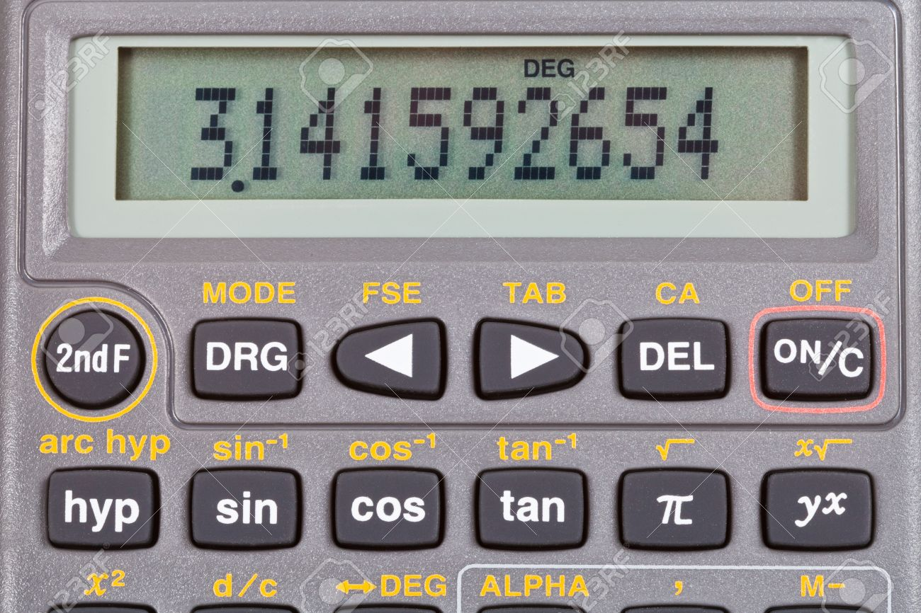 number pi on display of scientific calculator with mathematical
