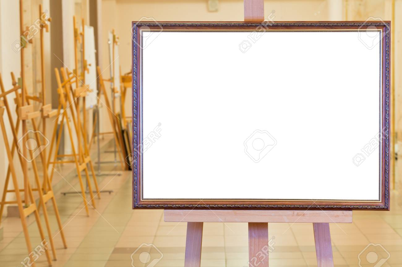 big picture frame with white cut out canvas on easel in gallery hall Stock Photo - 16862862