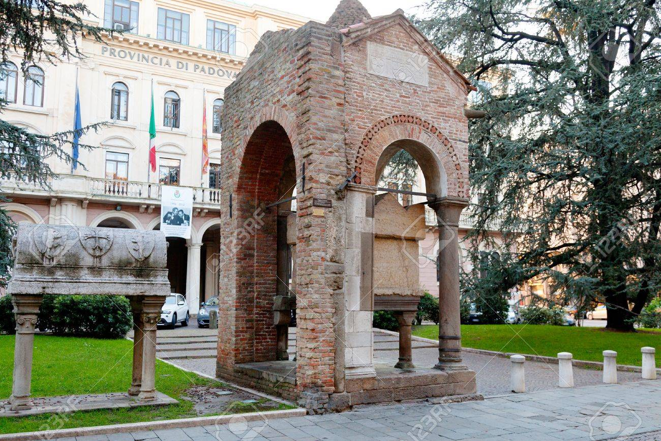 medieval Lovato Lovati and trojan prince Antenore tombs in front of the building of the Prefecture , Padova, Italy - 16863326
