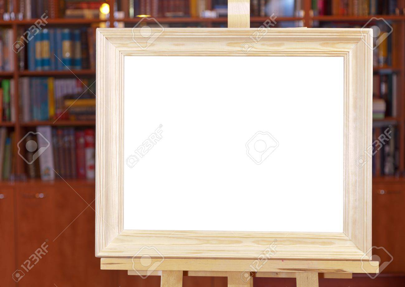 White Canvas Of Wide Wood Picture Frame On Easel With Clipping ...