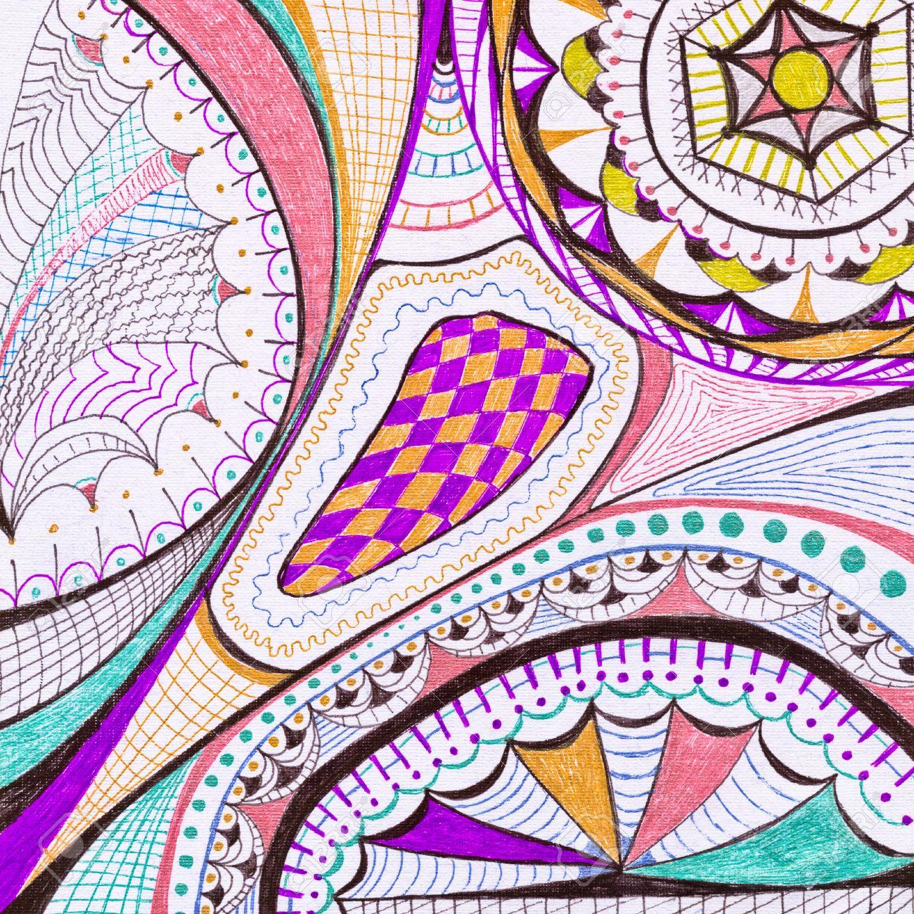 Abstracto Dibujo A Lápiz Sobre Papel De Color Fotos Retratos