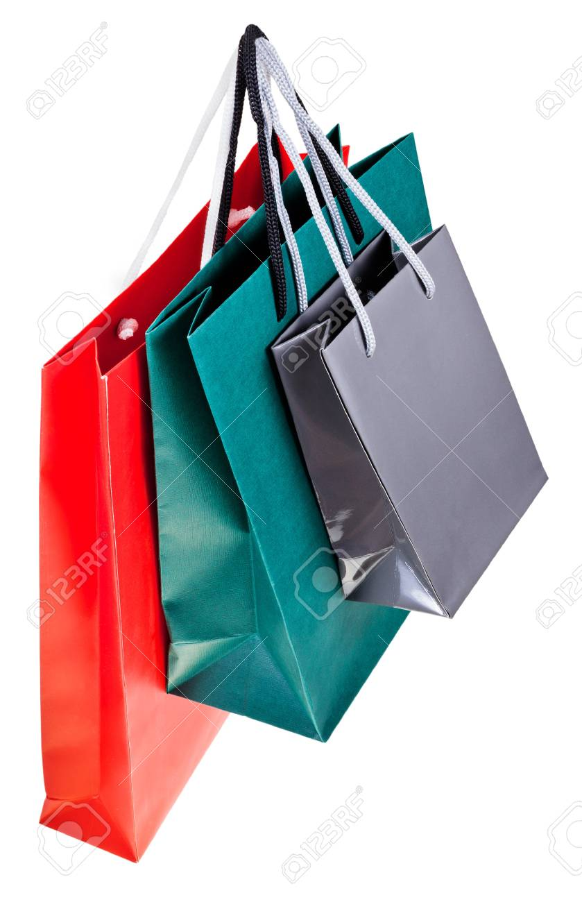 three paper shopping bags isolated on white backgrounds Stock Photo - 18090576