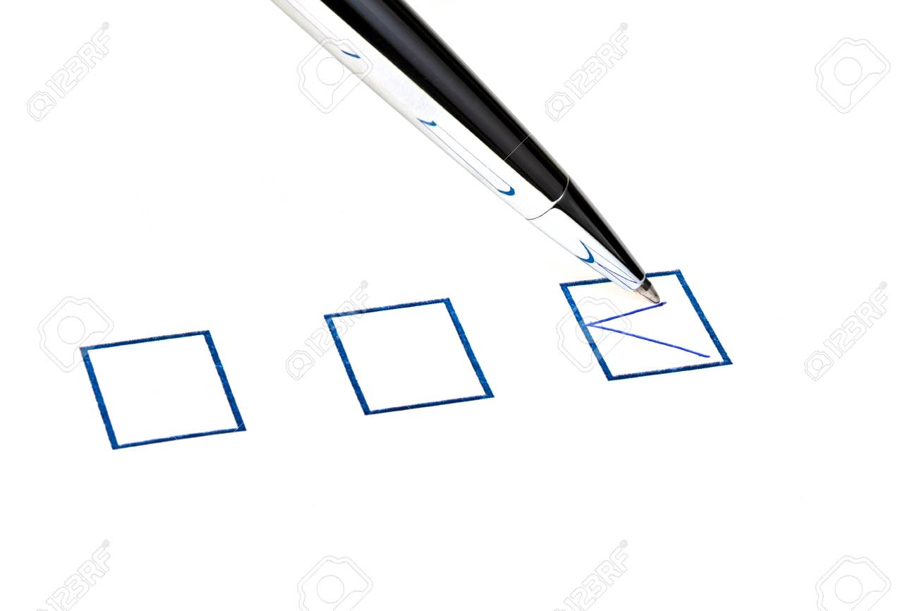 tick in blue square box by silver pen Stock Photo - 18215141