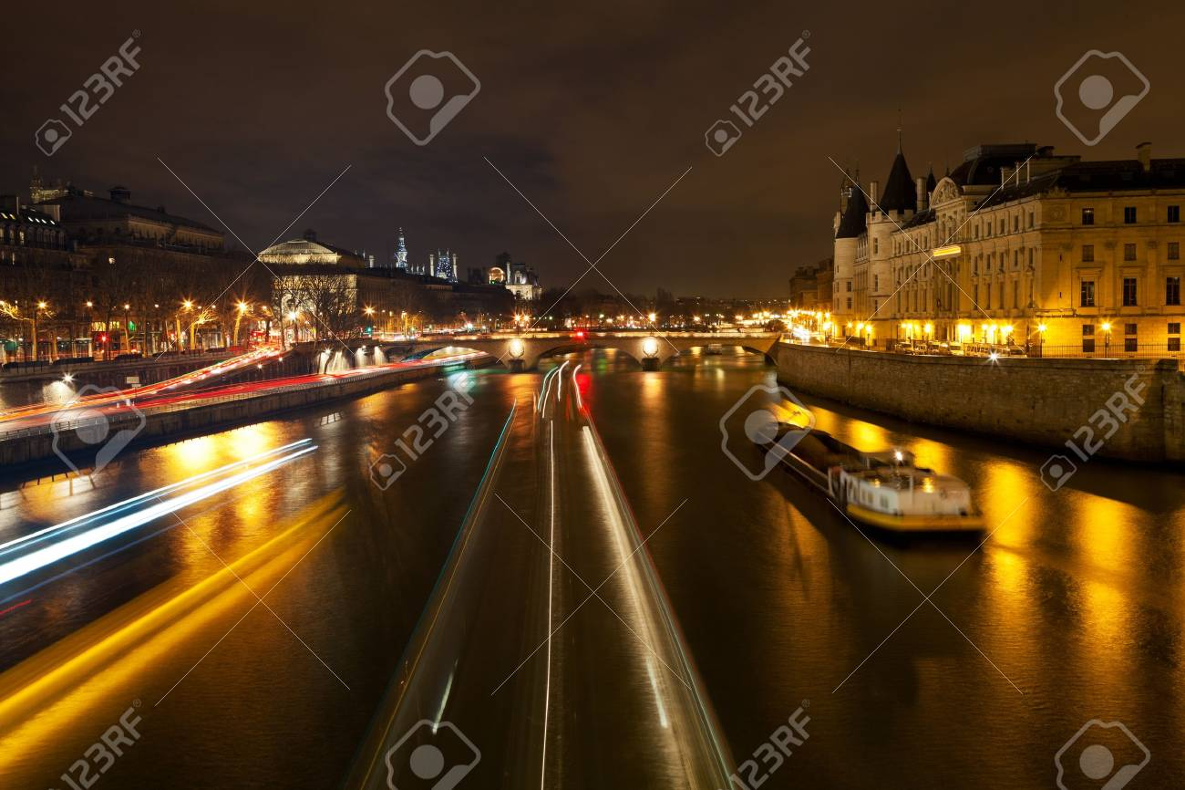 Panorama of Seine with Pont au Change in Paris at night Stock Photo - 18702363