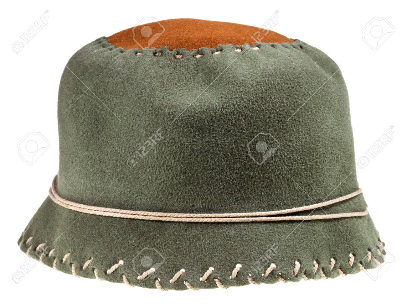 felt green soft cloche hat isolated on white background Stock Photo - 19418043