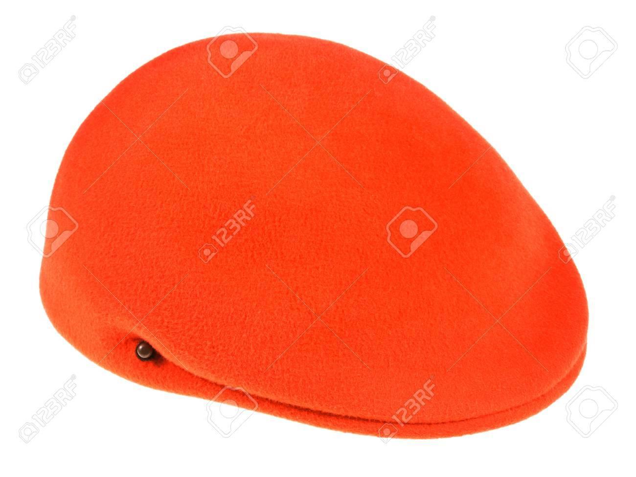 felt orange flat cap isolated on white background Stock Photo - 19417802
