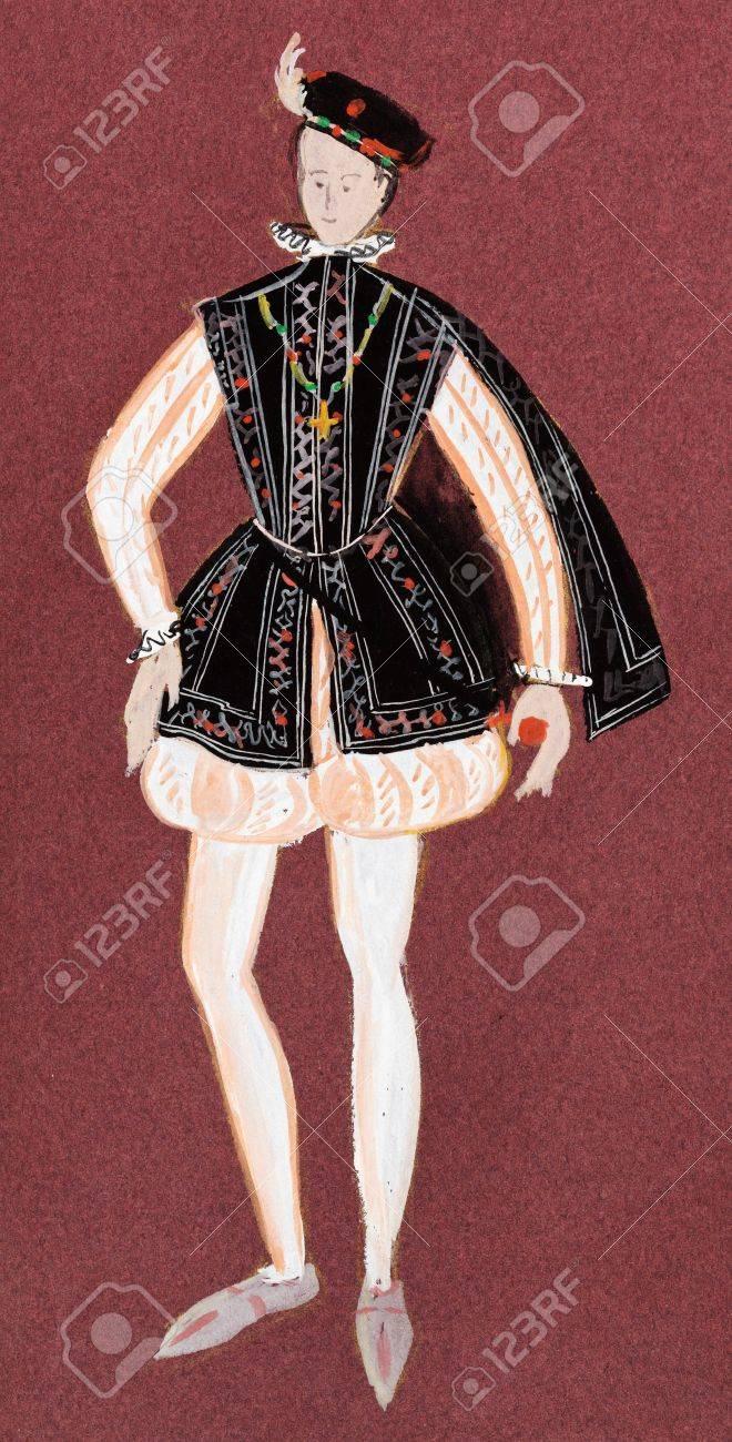 Banque d\u0027images , Costume historique , adapter le jeune roi de France  milieu du 16e siècle