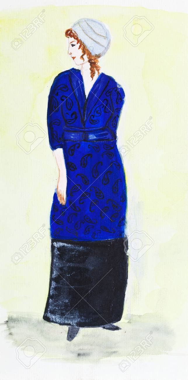 fashion of 20th Century - lady in turban and a dark blue velvet suit 1911 year Stock Photo - 19942663
