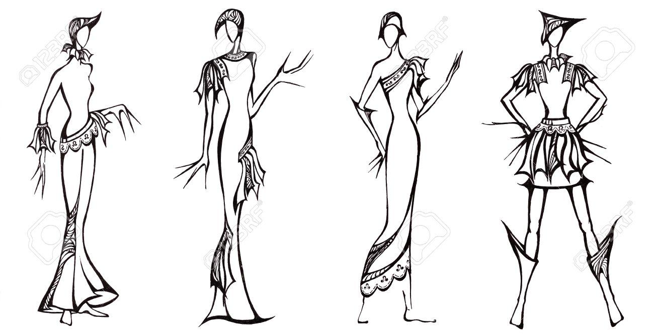 Skizze Der Mode - Design Von Kleidern Auf Der Ritterrüstung Basis ...