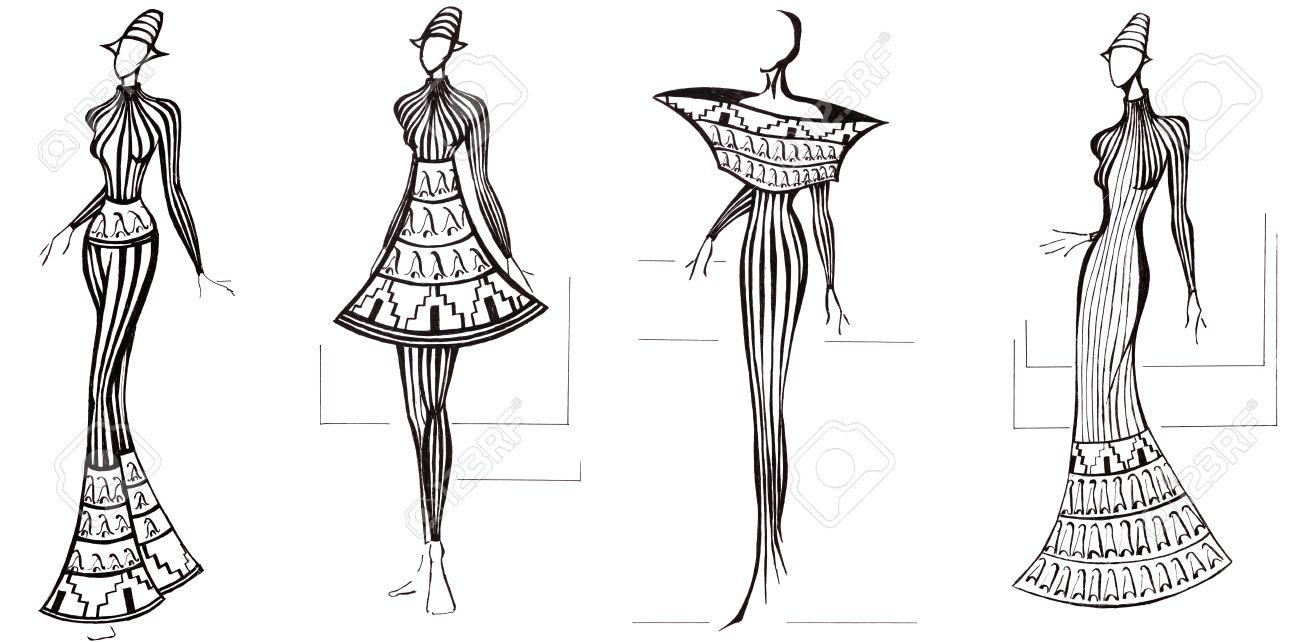 27bf0e7a5ec Boceto de modelo de moda - diseño de vestidos basa en la columna  arquitectura Foto de